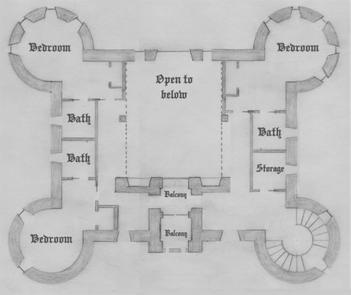 Second floor four tower plan